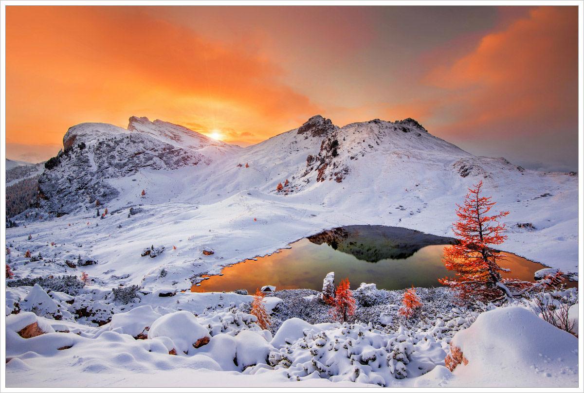 Jezero Lago Valparola - fotografický workshop Čarovné podzimní Dolomity