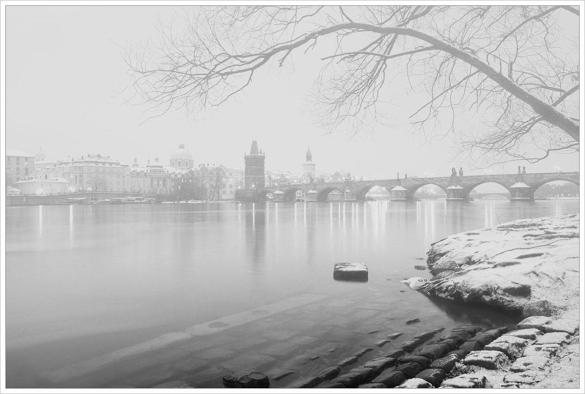 Ranní pohled na Karlův Most - fotografický kurz Černobílá romantická Praha