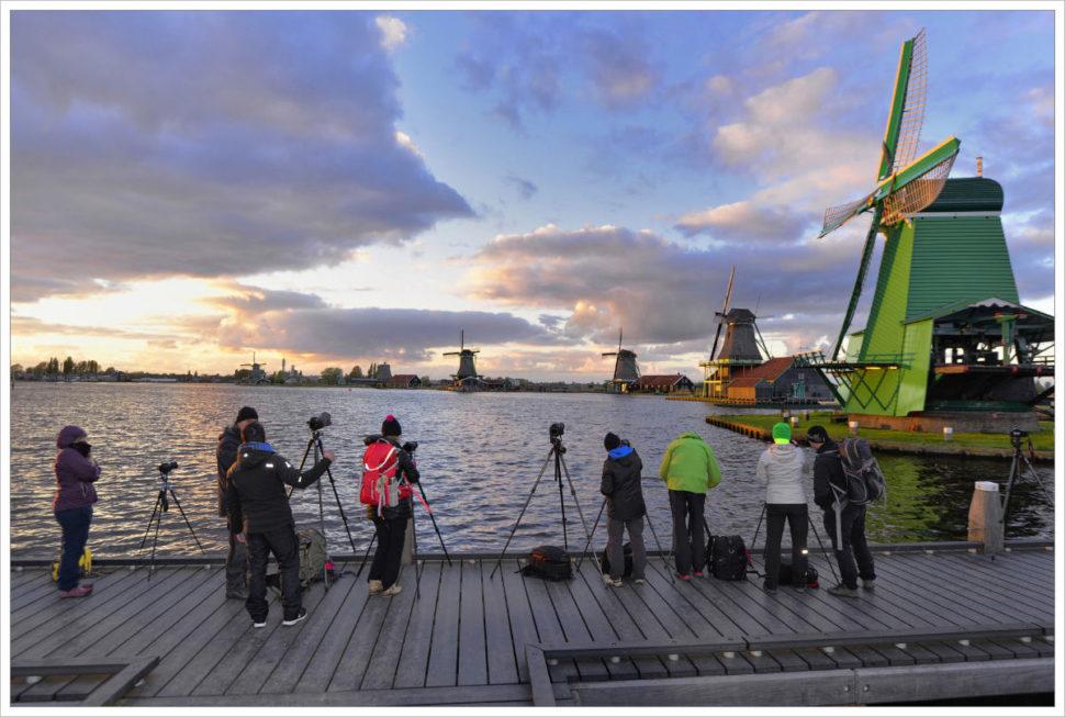 Z podvečerního focení uvětrných mlýnů vZaanse Schans - fotografický workshop Rozkvetlé jarní Holandsko