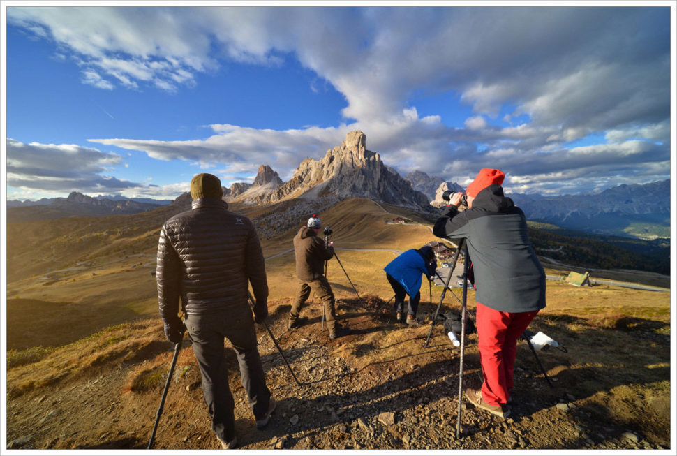 Fotografické nasazení vPasso Giau - fotografický workshop Čarovné podzimní Dolomity