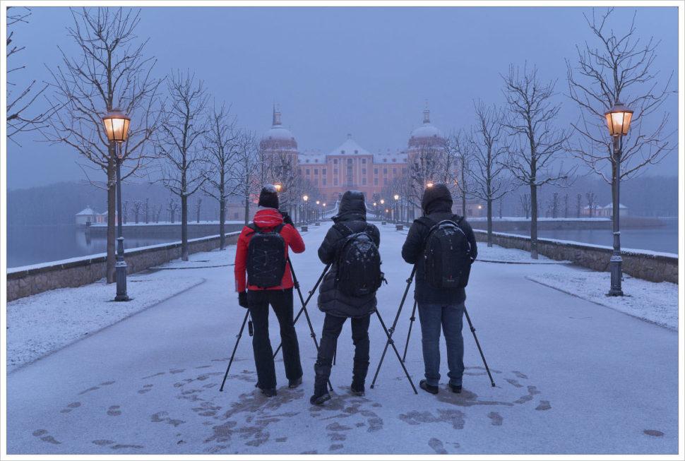 Čerstvý sníh uzámku Moritzburg - fotografický workshop Drážďany, Moritzburg aMíšeň