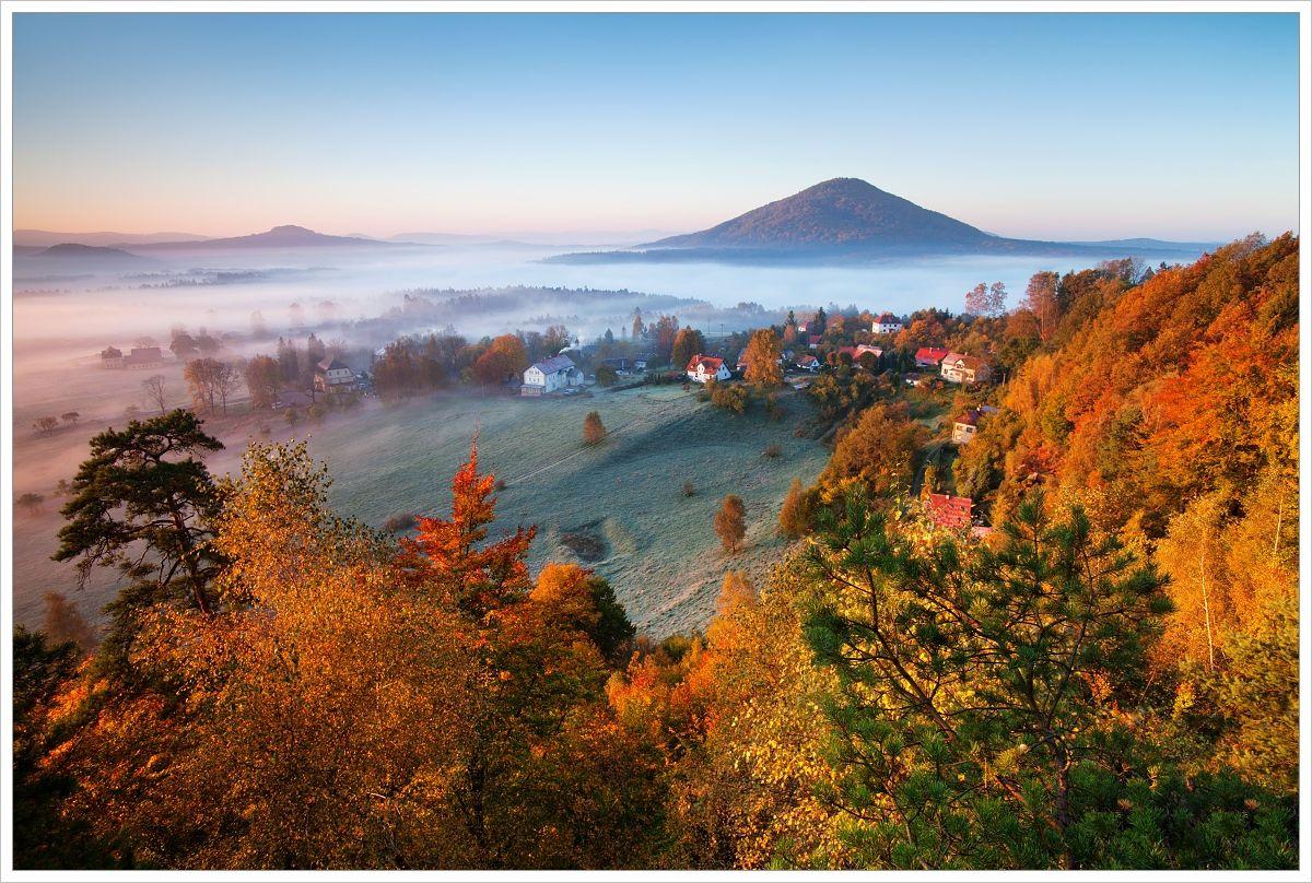 Podzimní pohled na Růžový vrch - fotografický workshop Podzimní Českosaské Švýcarsko