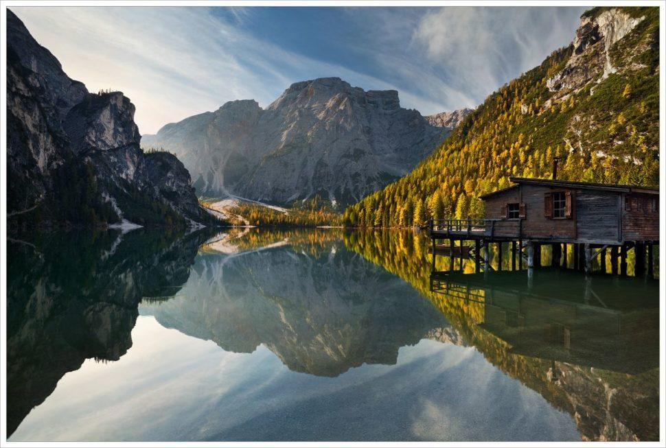 Ráno ujezera Lago di Braies - fotografický workshop Čarovné podzimní Dolomity