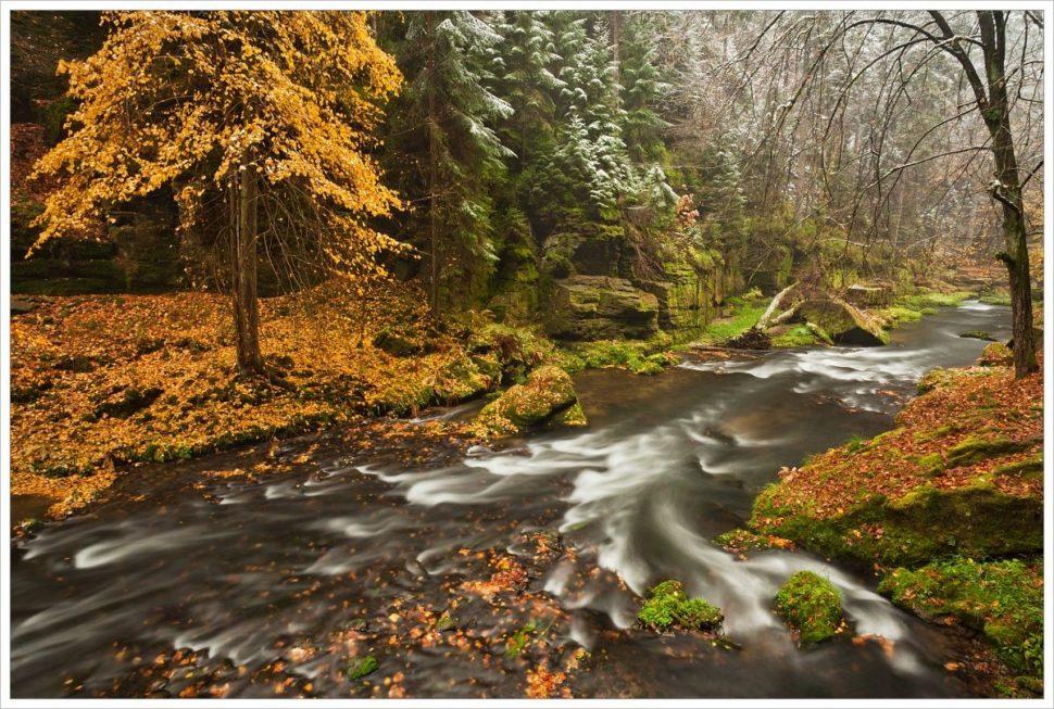 První sníh u řeky Kamenice - fotografický workshop Podzimní Českosaské Švýcarsko