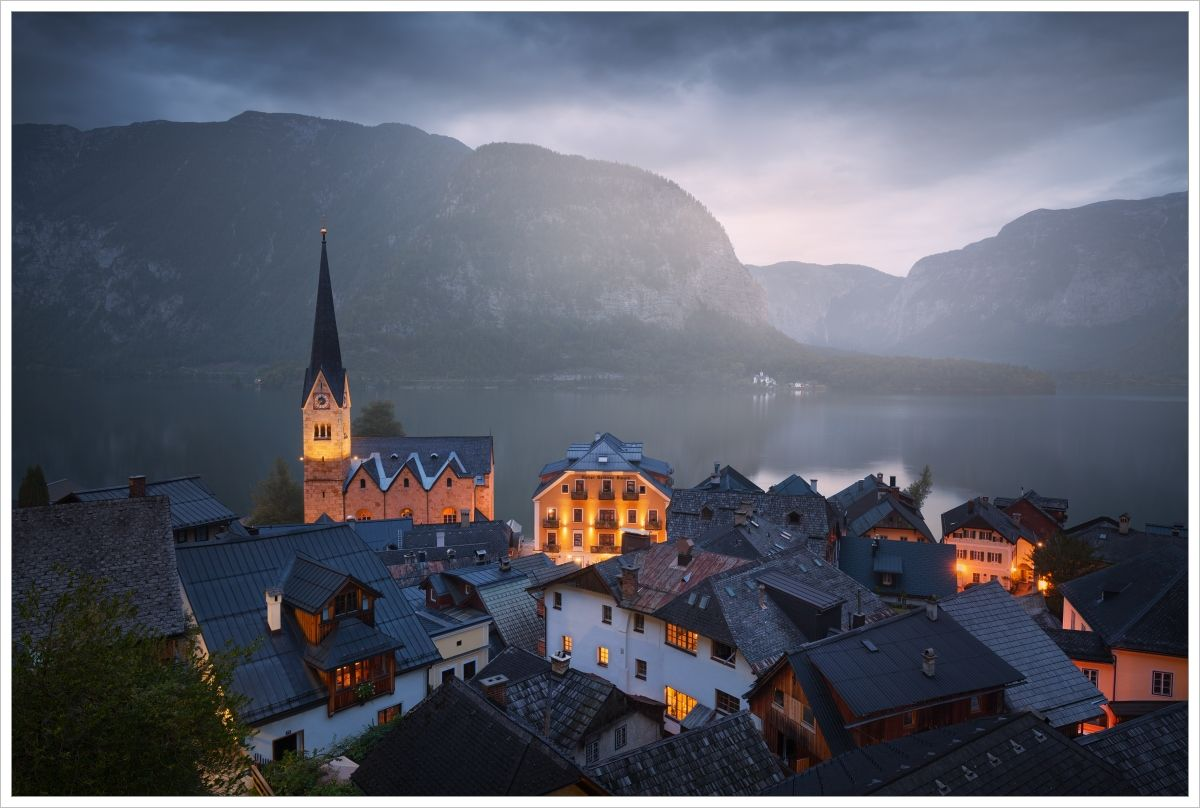 Pohled naranní Hallstatt - fotografický workshop Jezera avodopády Rakouska