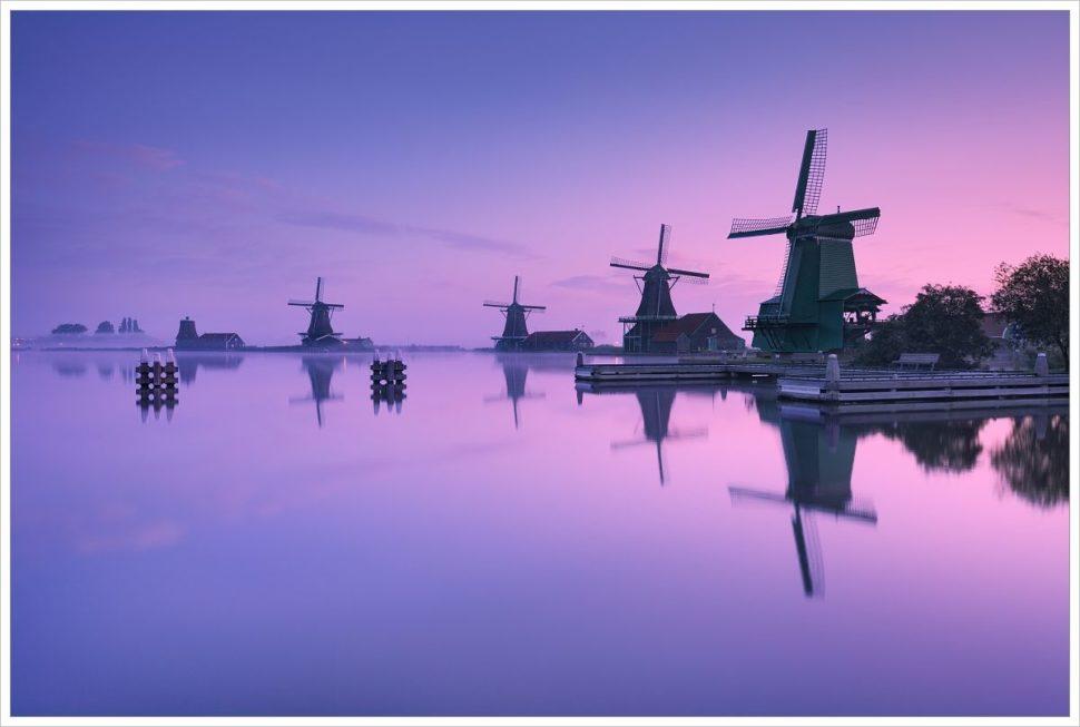 Větrné mlýny Zaanse Schans vranní mlze - fotografický workshop Rozkvetlé jarní Holandsko
