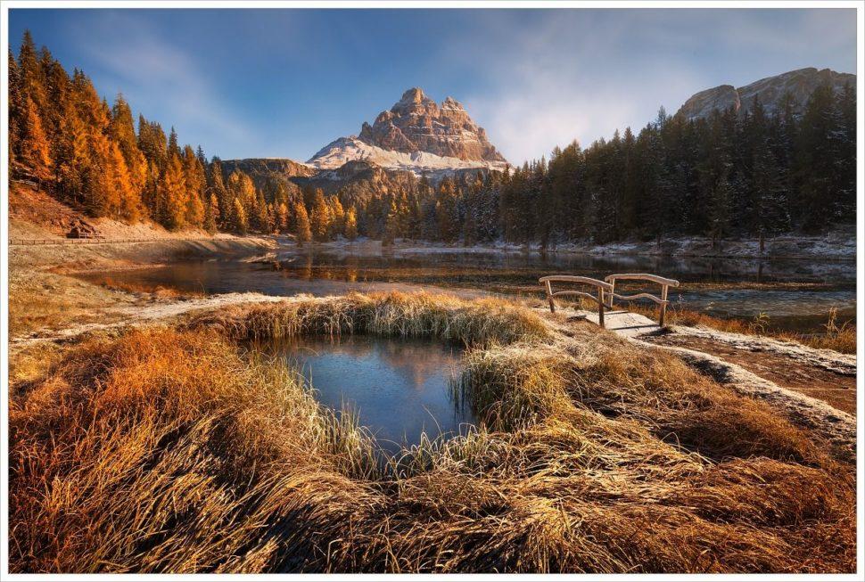 Mrazivé podzimní ráno uTre Cime di Lavaredo- fotografický workshop Čarovné podzimní Dolomity