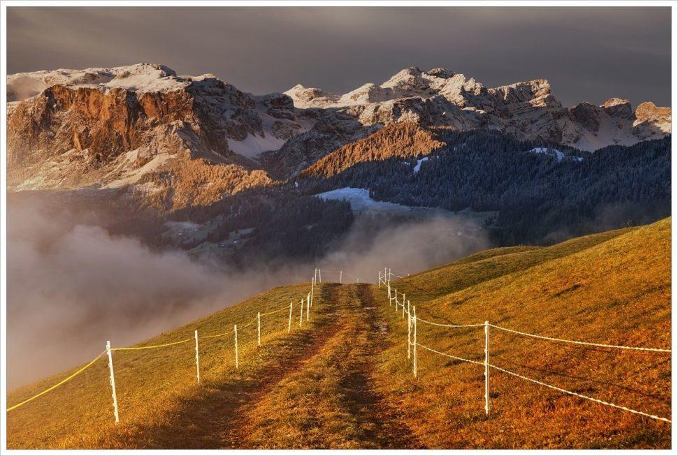 Podzimní ráno voblasti Alta Badia - fotografický workshop Čarovné podzimní Dolomity
