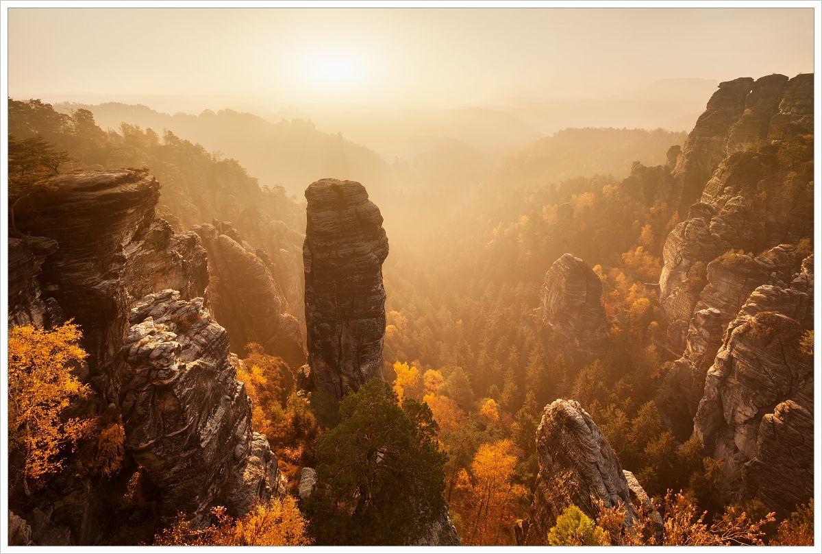 Bastei askalní pískovcové věže vpodzimních tónech - fotografický workshop Podzimní Českosaské Švýcarsko