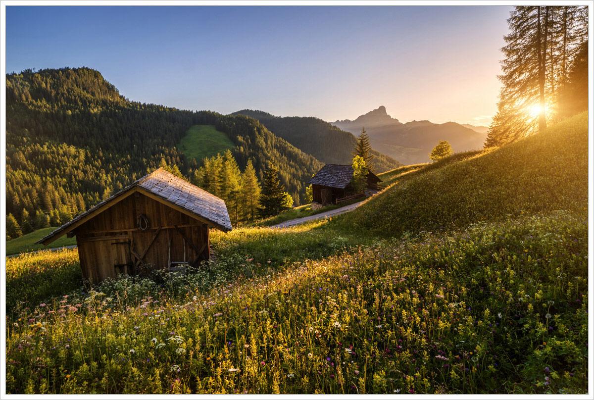 Rozkvetlé letní louky v alpském údolí je klasika Jižního Tyrolska - fotografický workshop Rozkvetlé letní Dolomity