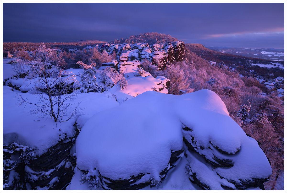 Poslední večerní světlo vzimních Tiských stěnách - fotografický workshop Labské pískovce aKrušné hory