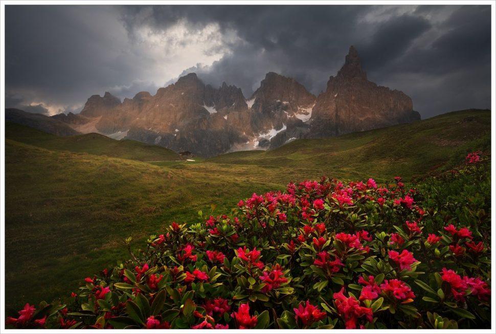 Blížící se letní bouřka poblíž chaty Baita Segantini - fotografický workshop Rozkvetlé letní Dolomity